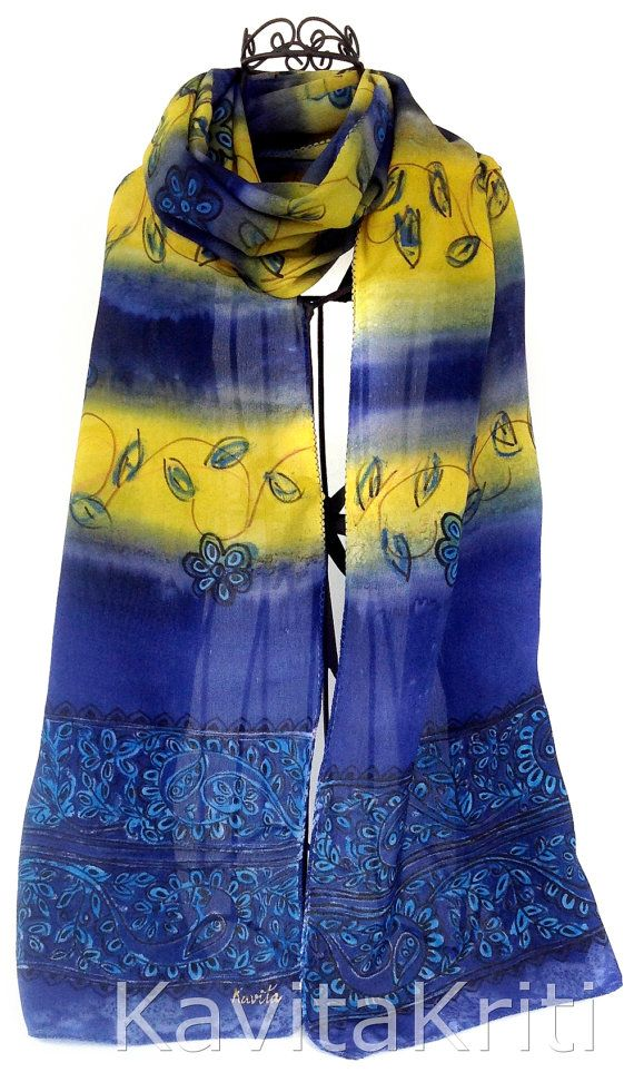 silk scarves canada ethnic scarf blue silk scarf yellow