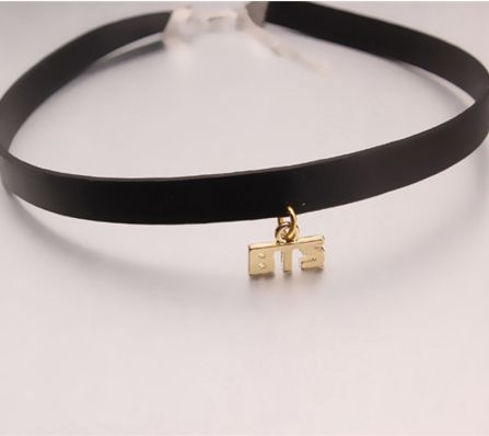 BTS Bangtan Boys Army Korean Gold Leather Choker Collar Necklace
