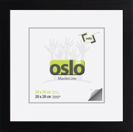 Bilderrahmen 30x30 Holz massiv (100% FSC®-Holz), schwarz, Profilbreite 25 mm, Höhe 15 mm, quadratisch, Drehfedern, Echtglas, Holzrahmen