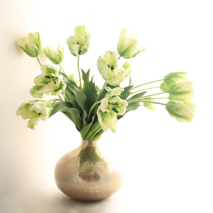 Beautiful green faux parrot tulip flowers are elegant and hand painted making them a perfect silk flower wedding bouquet or centrepiece. The most realistic artificial flowers and are great for bridesmaids gifts