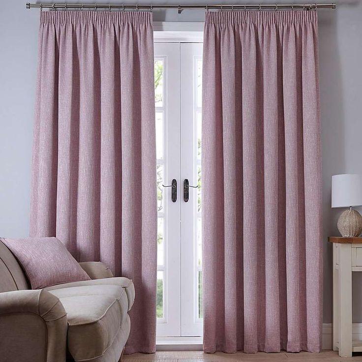 Boucle Pink Pencil Pleat Curtains | Dunelm