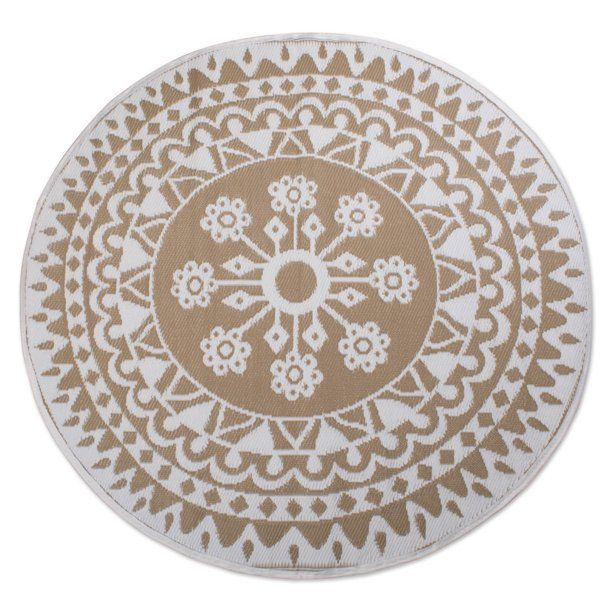 Dii Gray Floral Outdoor Rug 5 Ft Round Walmart Com In 2020 Round Outdoor Rug Outdoor Rugs Patio Outdoor Rugs