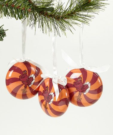 Take a look at this Virginia Tech Peppermint Ornament - Set of Three by Oxbay on #zulily today!