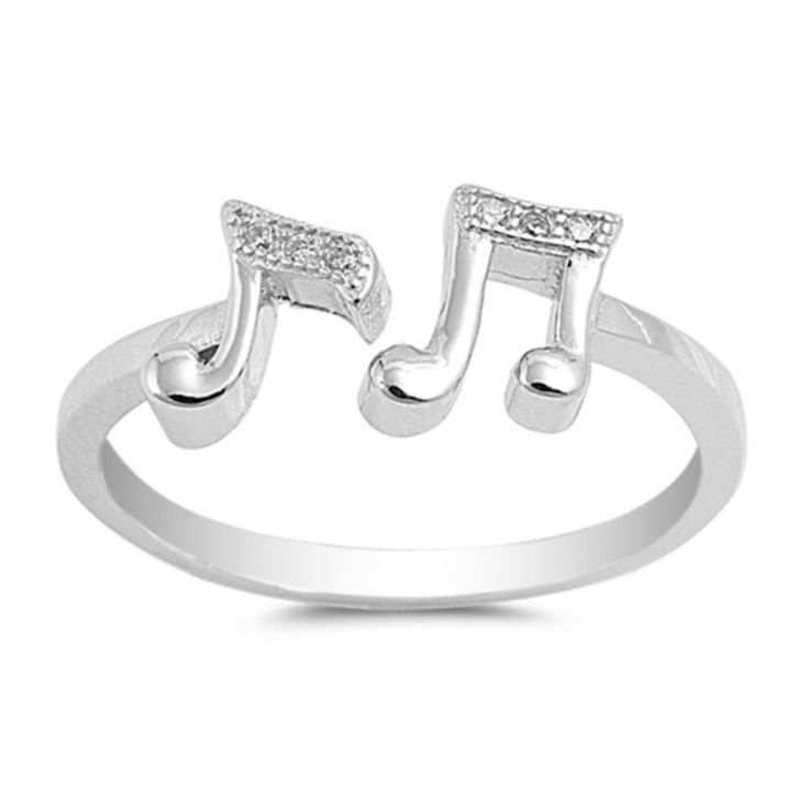Double Music Note Ring Solid 925 Sterling Silver Round Clear White Topaz CZ Music Note Jewelry Music Lovers Gift Two Music Ring