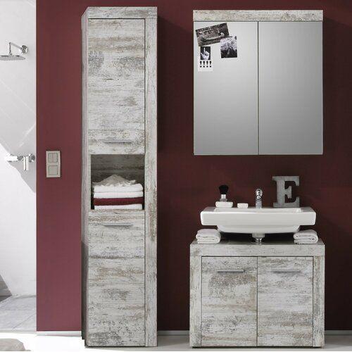 Mercury Row Partone 3 Piece Bathroom Storage Furniture Set With Mirror In 2020 Bathroom Furniture Storage Bathroom Storage Bathroom