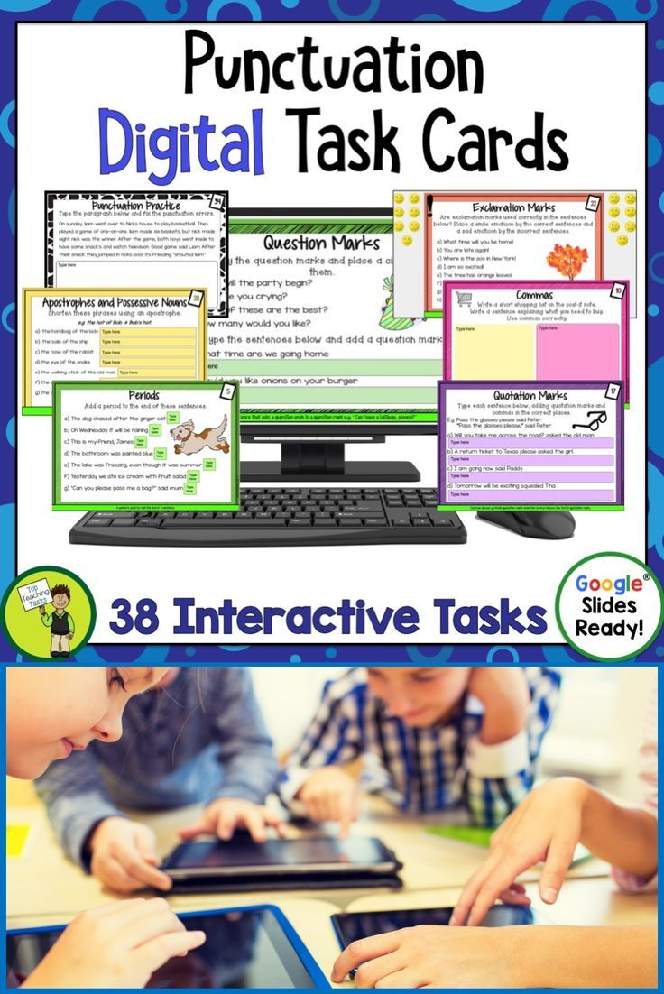 These Punctuation Task Card Activities feature 38 interactive Google slides for Grade 3 and Grade 4. Educational Technology. Mobile Learning. Google Resource. Digital Classroom. Featuring capital letters, periods, full stops, commas, question marks, exclamation marks, quotation marks, apostrophes. Suitable for Grade Three, Grade Four, Grade Five. 3rd Grade, 4th Grade, 5th Grade Parts of Speech. Great for your 4th grade, 5th grade, or 3rd grade classroom. #DigitalTaskCards #Punctuation