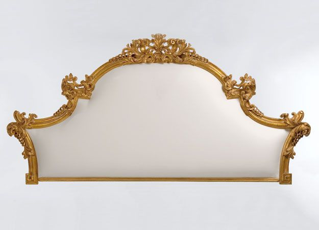 Headboard And Tuscan Style Upholstered Century Venetian Carved Wood With Antiqued Silverleaf Finish Muslin Upholstery