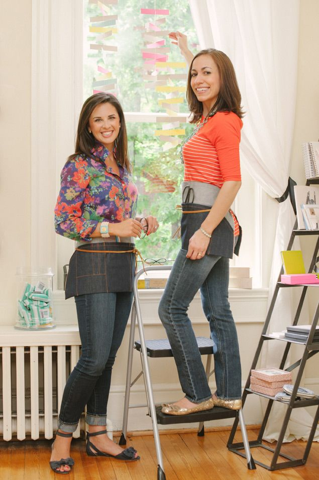 Kelly (left) wears a J. Crew blouse, Paige denim skinny jeans, Vera Wang flats, and a Tory Burch cuff. Maria wears Jean Shop denim, a J. Crew T-shirt, Kate Spade flats, and jewelry from Tiffany.