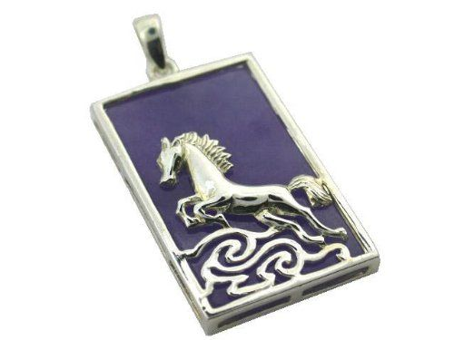 Light Lavender Jade Wild Stallion Rectangle Pendant, 925 Sterling Silver Golden Dragon: