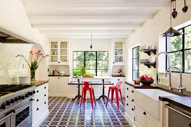 great kitchen: Black Window, Jessica Helgerson, Floors, Interiors Design, Red Chairs, Interiordesign, Mediterranean Kitchens, White Brick, White Kitchens