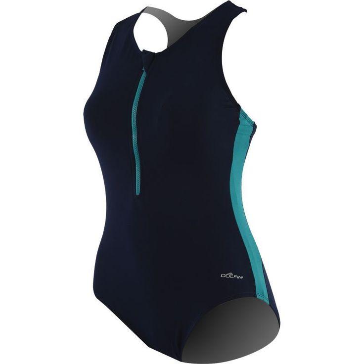 Dolfin Women's Zip-Front Racerback Swimsuit