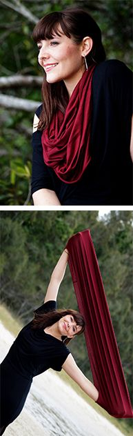 Silky soft, double stretch rayon jersey infinity scarf. We've sewn this fun, versatile accessory in this rich winter colour to keep you snug when the air gets cool.   Ethically produced + handmade by our own Kobomo team.   Shop this style >> Online or visit us in Noosa! <3   www.kobomo.com.au