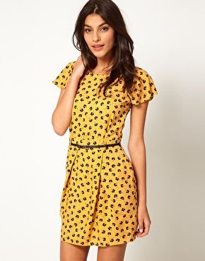 ASOS | Mini Tulip Dress With Flute Sleeve In Floral Print: Cute colour and cute print, nothing left to say!
