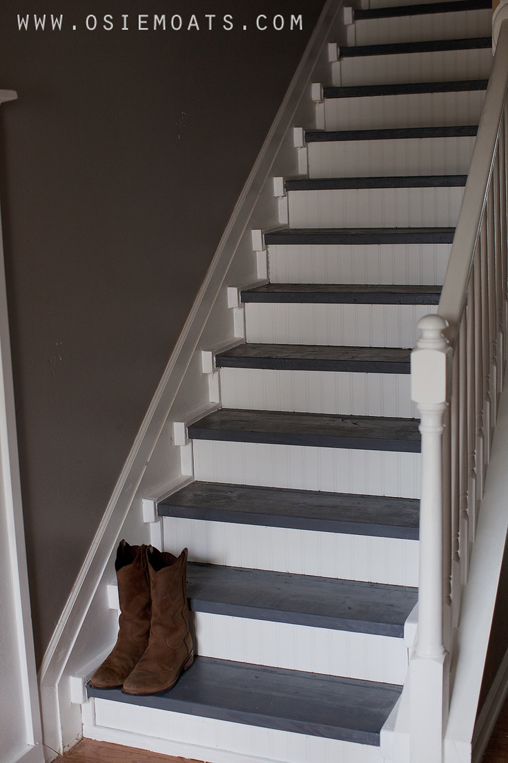 Stairway Makeover   Beadboard Risers, Dark Stained Treads I Like The Trim