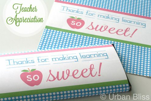"""Teacher Appreciation Week is coming up! Give sweet sentiments to your child's teacher with this printable candy bar wrapper that says """"Thanks for making learning so sweet!""""This design would make also a great gift on its own when printed, cut, and placed in a beautiful frame. You will receive one PDF file with this purchase. Download once and print as many as you need for teachers, principals, staff, counselors, and other key education figures in your child's life! ..."""
