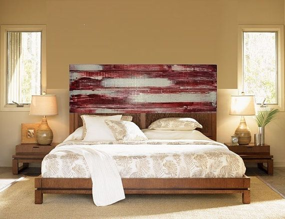 Modern Painted Reclaimed Wood Headboard Abstract Wall Art QUEEN Size Abstract painting on wood Distressed  Barn Wood Furniture Shabby Chic on Etsy, $200.00