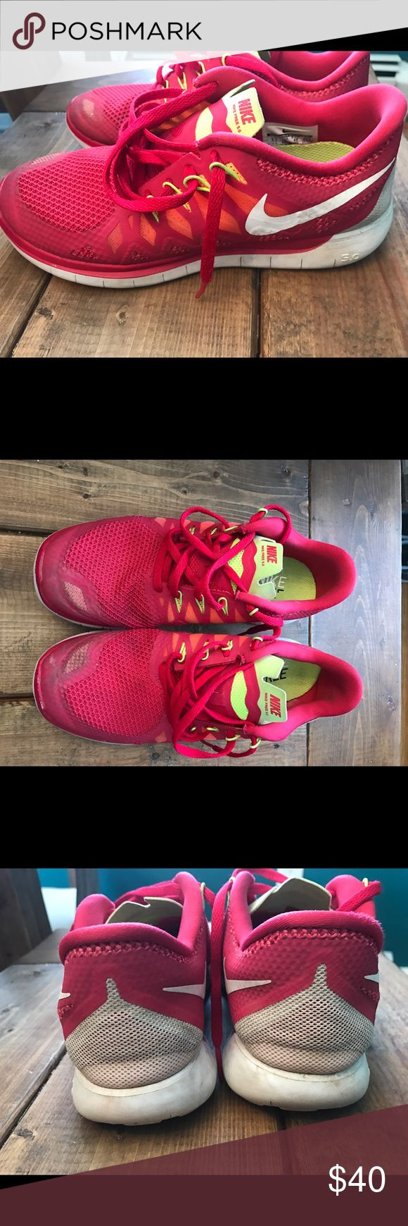 Nike Free 5.0 Runner Red with highlighter yellow accents. Used but good shape. Comfortable and stylish! None of my shoes fit after pregnancy. My loss, your gain! Nike Shoes Sneakers