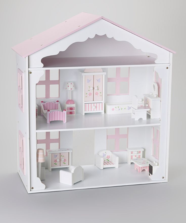 Pink Amp White Wooden Dollhouse Dollhouses Doll Cases