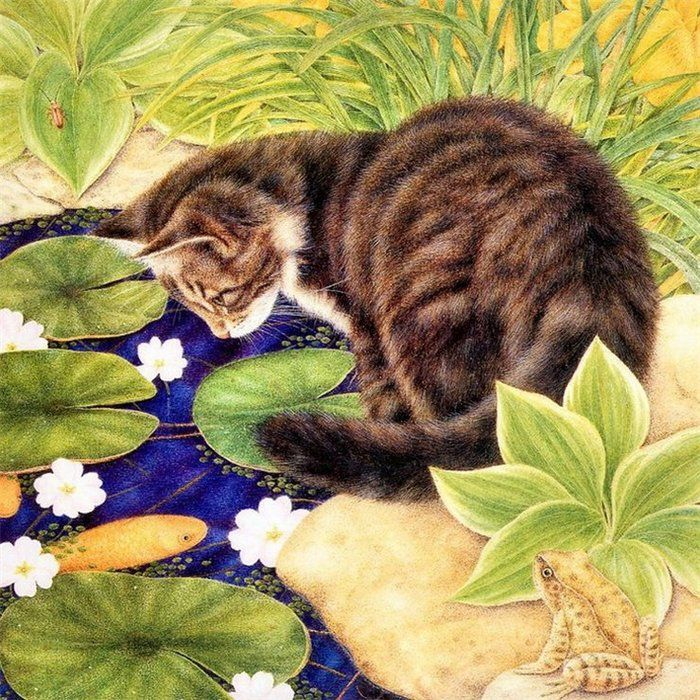 Anne Mortimer cat in the garden, if i had a garden. might be a lovely touch to have the company of a cat in my garden. a sweet thing for me to feel and wonder at, their antics while outdoors.