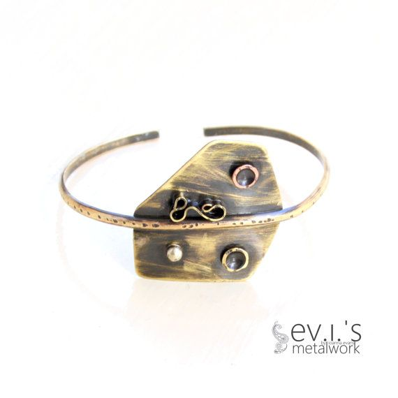 Mix Metal Polygon Abstract Bracelet Cuff Brass by evismetalwork, €32.00