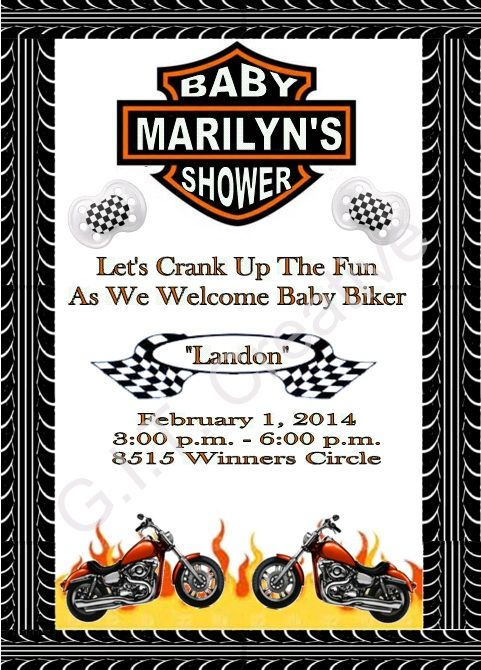 17 Best ideas about Motorcycle Baby Showers – Motorcycle Party Invitations