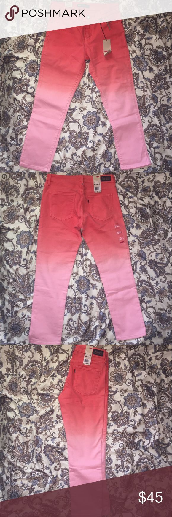 💕Levi Peach Ombrè MidRise Ankle Skinny Jeans💕 NWT, size 6, Ankle length! I'm 5'6 and this style falls right at the top of my ankle! 🚨PRICE FIRM Levi's Jeans Skinny