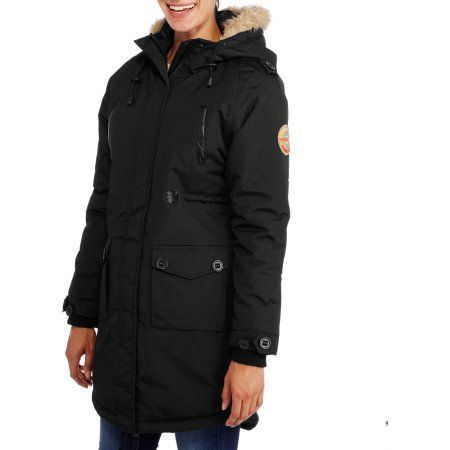 Fahrenheit Women's Long Puffer Coat With Fur-Trim Hood, Size: Small, Black
