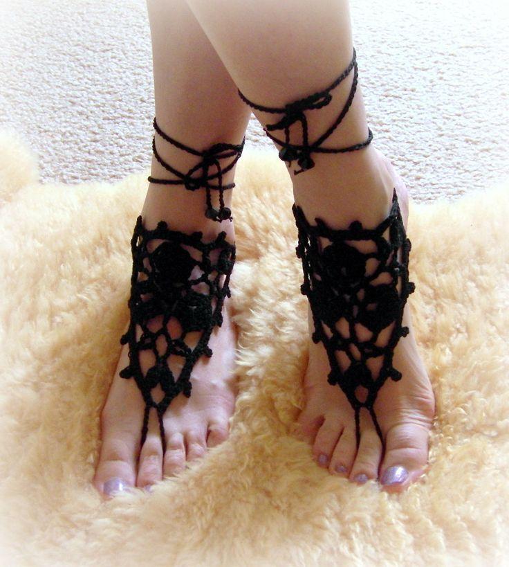 Crochet Barefoot Sandals Beach Pool Wear Yoga Shoes Feet Fetish Goth, Pick your Color. $15.00, via Etsy.