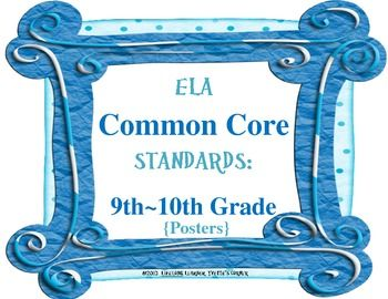 These 9th - 10th Grade COMMON CORE ELA Posters are sure to add vibrant color to your classroom decor! These vibrant colored posters will surely be a great EYE-CATCHER for your students, as well!! More importantly, these posters will help you account for EVERY COMMON CORE ELA Standard when teaching.   Included are ALL Literature and Informational Standards for 9th - 10th Grade!