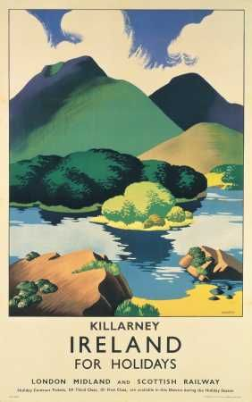 This travel poster was originally painted by an artist called Sparrow and was used by London Midland and Scottish Railway to promote tourism to Killarney in Ireland.     The poster shows an image of the lakes and mountains of Killarney.  It has vivid colours which are predominantly green.