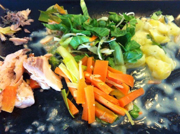 Regnbueørred (rainbow trout) Med sauterede grøntsager, mixet salat, kartofler og bearnaise sauce.  Filtere ørreden i to dele. drys groft salt og citronsaft over. Sæt en time i køleskabet. Tør det synlige salt af med papir. Drys peber og citronpeber over. Sæt i køleskabet. Put ca. 40 g. smør på panden, svits porrer og gulerødder i strimler, hvidløg i kvarte, peberrod samt salt, peber, chiliolie, og timian. Ca. 15 min. Ta halvdelen af, svits nyt smør, og så fisk på. Ca. 4-5 min på hver side.