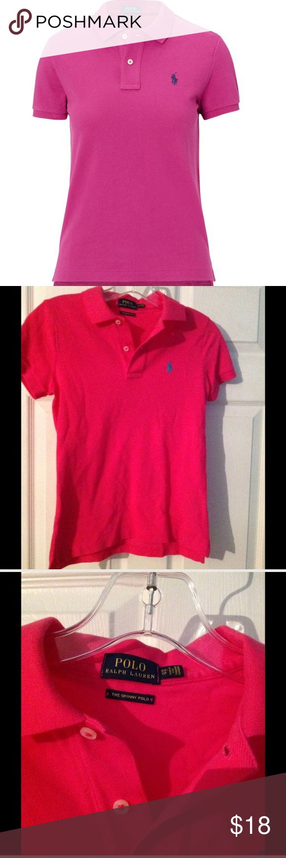 Ralph Lauren Fuschia  Pink Polo Shirt Slim Fuschia Pink Ralph Lauren Polo with blue horse. Ralph Lauren Quality. Excellent Condition. Vibrant color. Polo by Ralph Lauren Tops