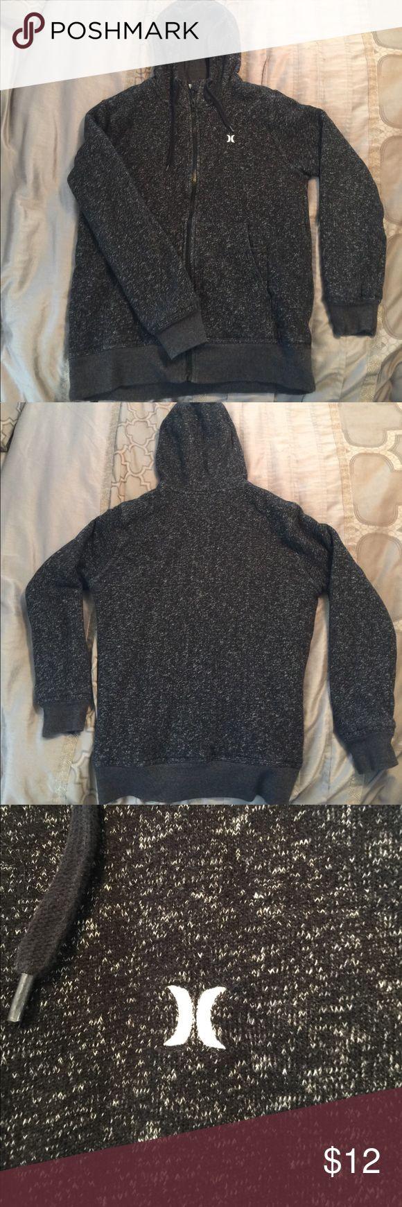 Hurley Zip-Up Hoodie Black & White Super soft zip up Hurley hoodie with front pockets. Black and white blend. Dark grey lining. Gently worn. Jackets & Coats Lightweight & Shirt Jackets