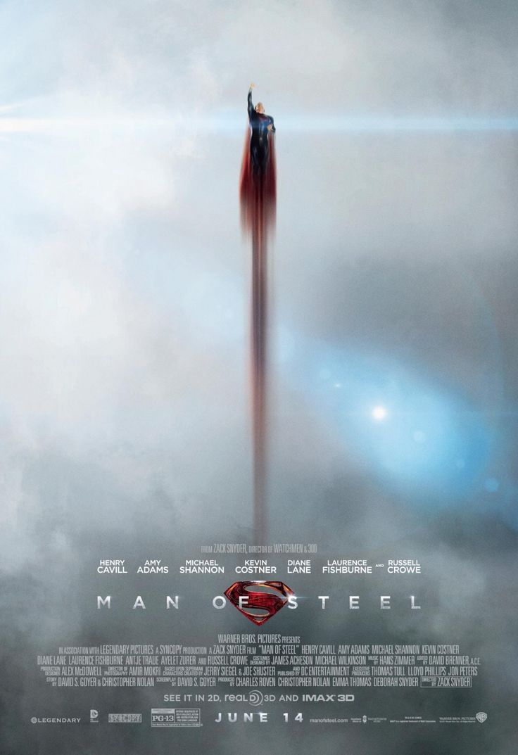 """""""Man of Steel"""", 2013: Cool poster, too bad the movie wasn't as breathtaking and was just OK."""