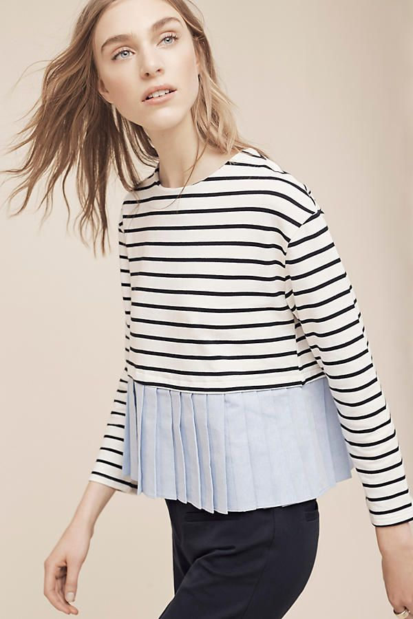 Striped and Pleated Top