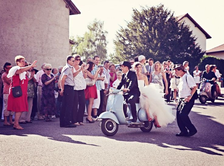 """""""Just Married"""" Vespa ride <3"""