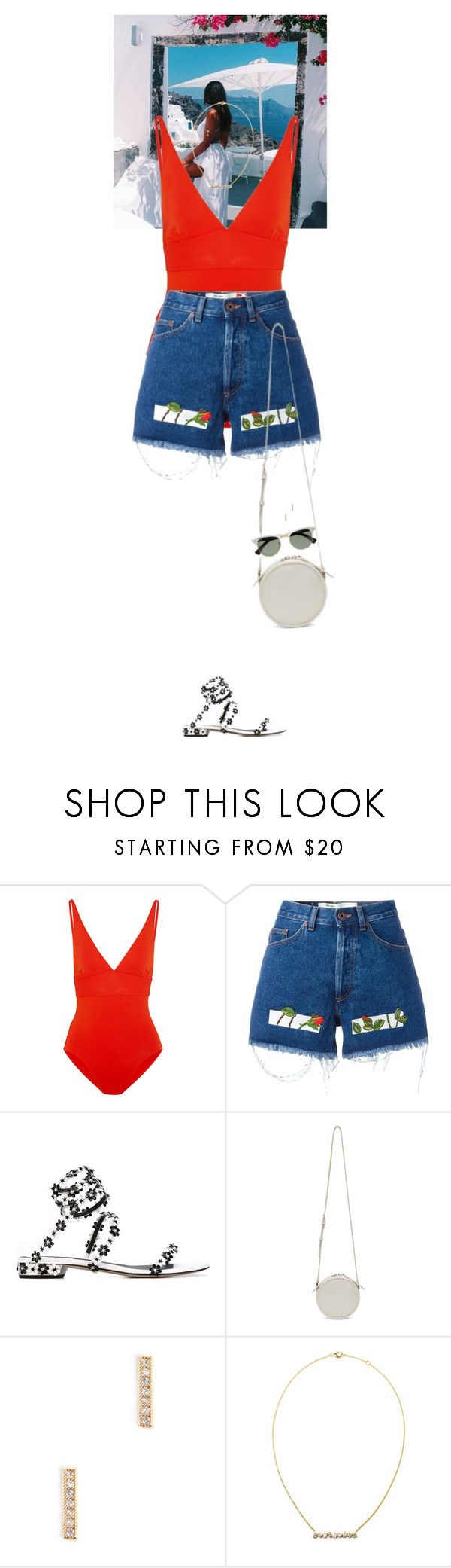 """Outfit of the Day"" by wizmurphy ❤ liked on Polyvore featuring Eres, Off-White, René Caovilla, Kara, Kimberly McDonald, Ray-Ban, ootd and jeanshorts"