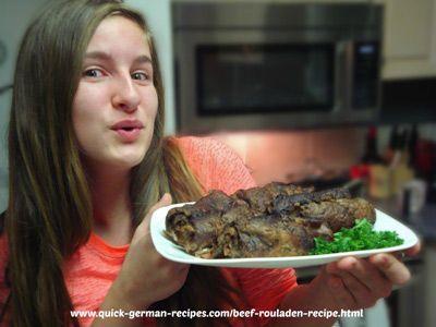 German Beef Rouladen ... http://www.quick-german-recipes.com/beef-rouladen-recipe.html