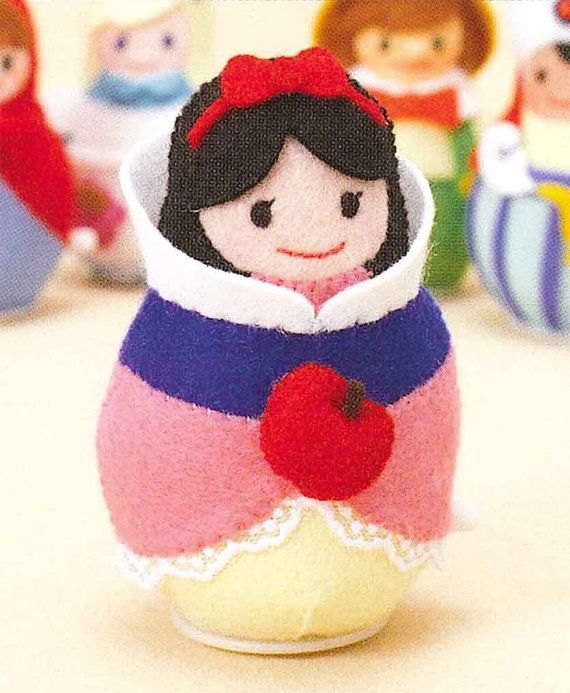 Felt Clockwork Toy / Kawaii Snow White Doll, Japanese DIY Kit, Snow White, Die Cut Felt  Easy Tutorial, Gift For Girls, Children, F125
