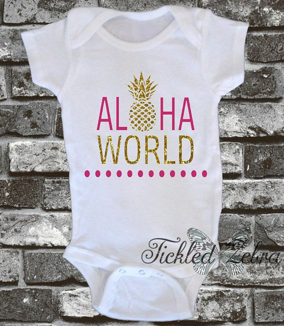 Aloha World Pineapple Gold Glitter Baby Bodysuit Toddler
