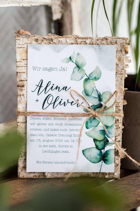 Einladung für Hochzeiten im Grünen, natürliche Papeterie in Grün und mir Birkenholz, Juteband, Hochzeitspapeterie, Eukalyptus