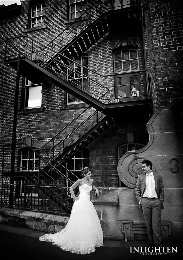 Location > THE ROCKS.   Unique, rustic,  stunning, romantic, love,city urban black & white wedding portrait ideas.