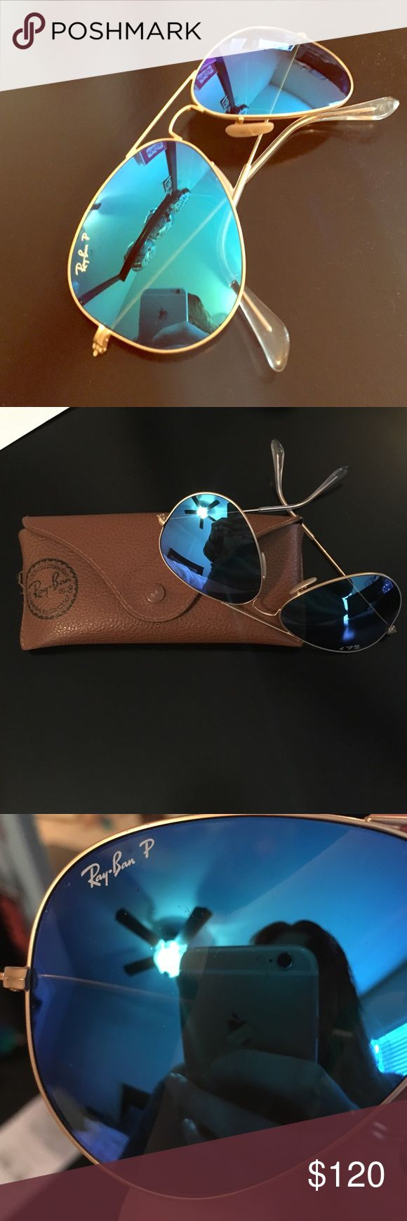 Ray Ban Gold Framed Aviators Classic Ray Ban polarized blue mirrored aviators! Purchased from Nordstrom 2 years ago, these are in EUC! No scratches on lenses and come with original case:) looking to trade for Ray Ban round metal classic (black tiny or rose gold) or just selling. Ray-Ban Accessories Sunglasses