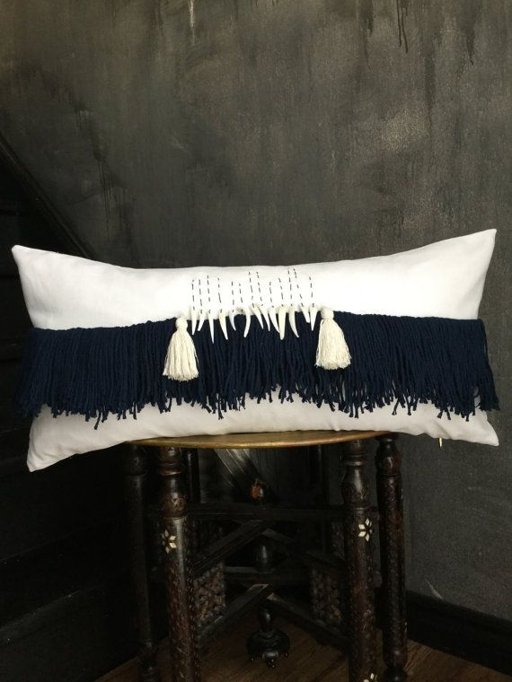 Seashells nautical pillow beach house  pillow fringe pillow tassel pillow anthropologie African mudcloth taisasilecky boho pillow