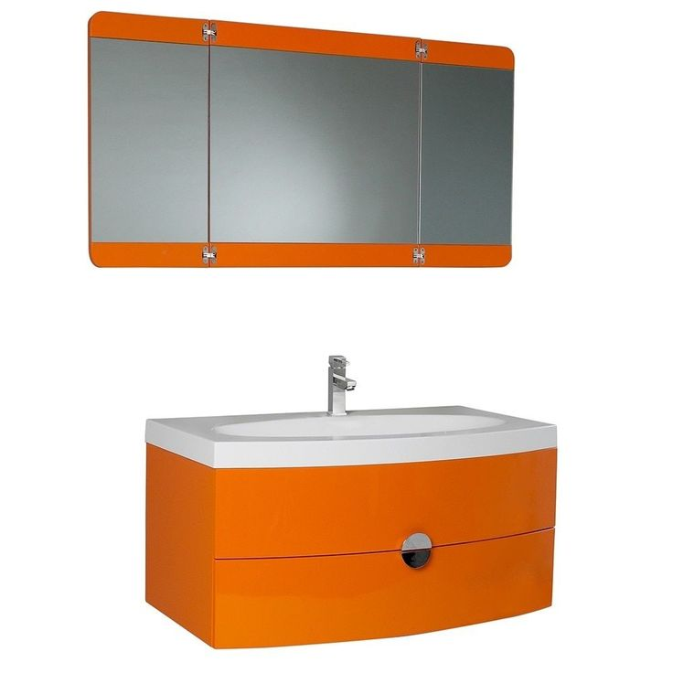 Fresca Energia Orange Modern Bathroom Vanity w/ Three Panel Folding Mirror (Orange)