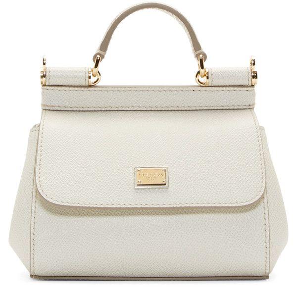Dolce And Gabbana White Micro Miss Sicily Bag ($795) ❤ liked on Polyvore featuring bags, handbags, shoulder bags, purses, bolsas, sacs, genuine leather handbags, real leather handbags, white handbags and structured handbag