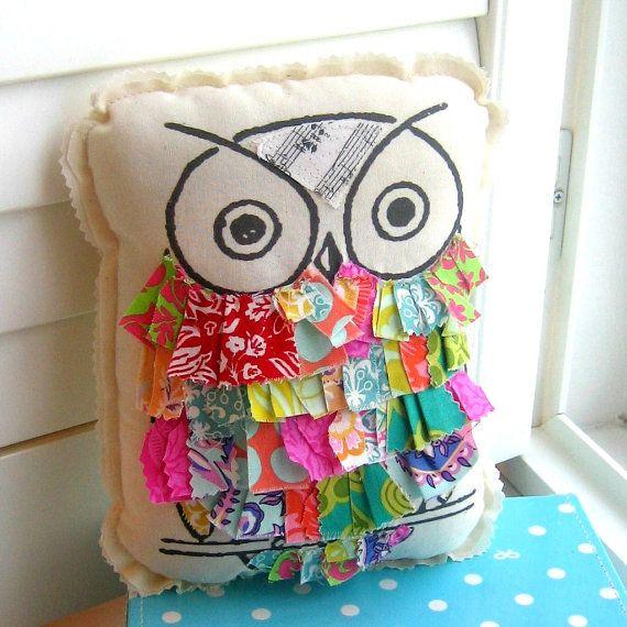 Owl pillow, stuffed owl, fabric scrap owl pillow, appliqued owl pillow, ruffle…