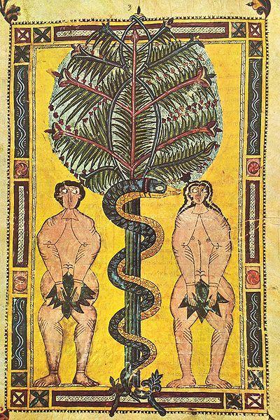 circa NINE FIFTY.  NINE FIF-TEE.    Adam & Eve, illuminated manuscript circa 950, Escorial Beatus