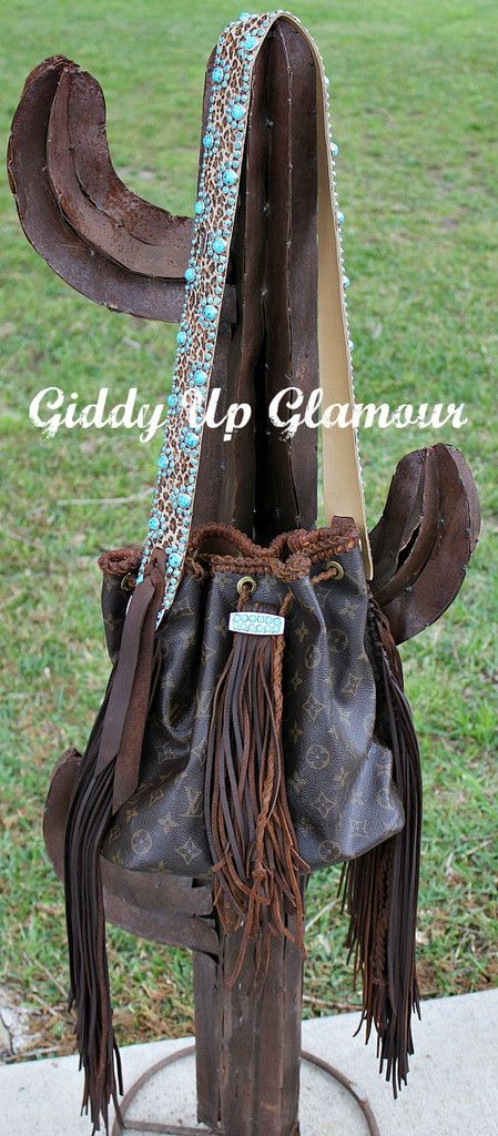 Leather and Vodka Custom Giddy Up Glamour Bag with Leopard and Turquoise Kippy Strap