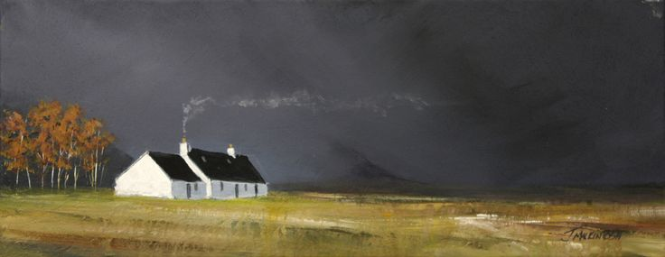 Blackrock Cottage Glencoe  by Scottish contemporary landscape painter J Mackintosh